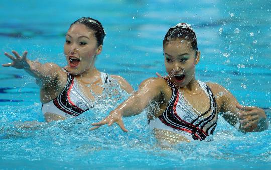 图文-花样游泳双人项目决赛赛况 日本组合亮相