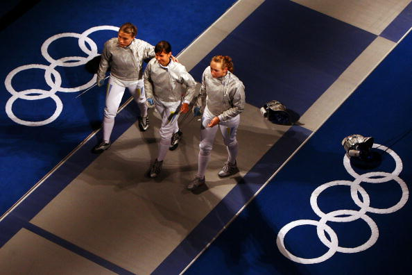 图文-8月14日奥运击剑赛场瞬间 三剑客走下赛场