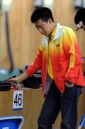 图文-庞伟在资格赛中排名第一 闭目寻找感觉
