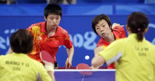 图文-乒球女团国乒3-0新加坡 女双所向披靡