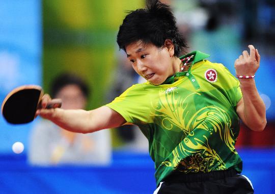 图文-乒乓球女单第二轮战况 柳絮飞正手接球