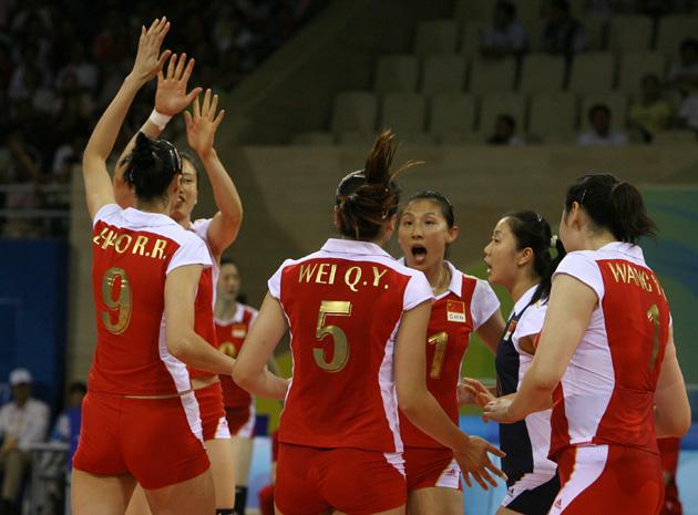 图文-[女排]中国队3-0日本 中国姑娘赛中庆祝得分