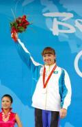 图文-女子举重75公斤级决赛 哈萨克斯坦选手开心