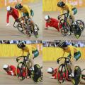 图文-自行车女子争先赛半决赛 郭爽摔倒过程合成图