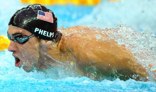 图文-男子4x100米混美国夺金 水中拼命赶超