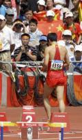 图文-刘翔因伤退出110米栏比赛 在遗憾注视下离场