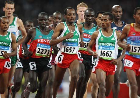 图文-[奥运]田径男子5000米决赛 开始战术配合