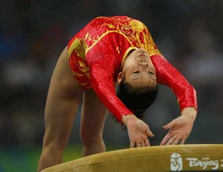 图文-[体操]中国女团冲击冠军 跳马程菲小试身手