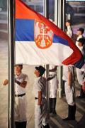 图文-塞尔维亚代表团升旗仪式 国旗在奥运村升旗