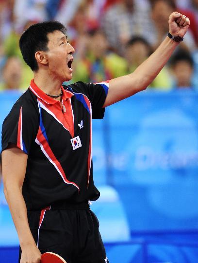 图文-奥运乒乓球韩国队获男团铜牌 吴尚垠狂呼一声
