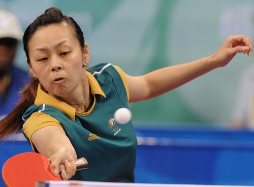 图文-乒乓球女单预赛 中华台北运动员在比赛中