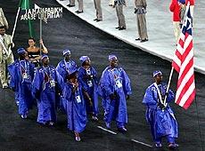 雅典奥运会开幕式 非洲利比里亚代表团入场