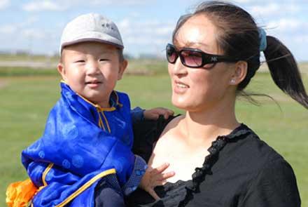 可爱的蒙古小孩