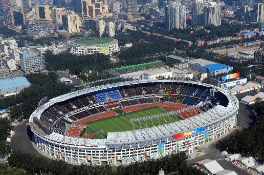 图文-写在北京奥运会开幕前夕 航拍的工人体育场
