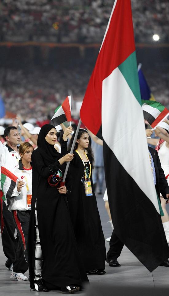 图文 奥运会开幕式美女帅哥旗手阿联酋梅萨公