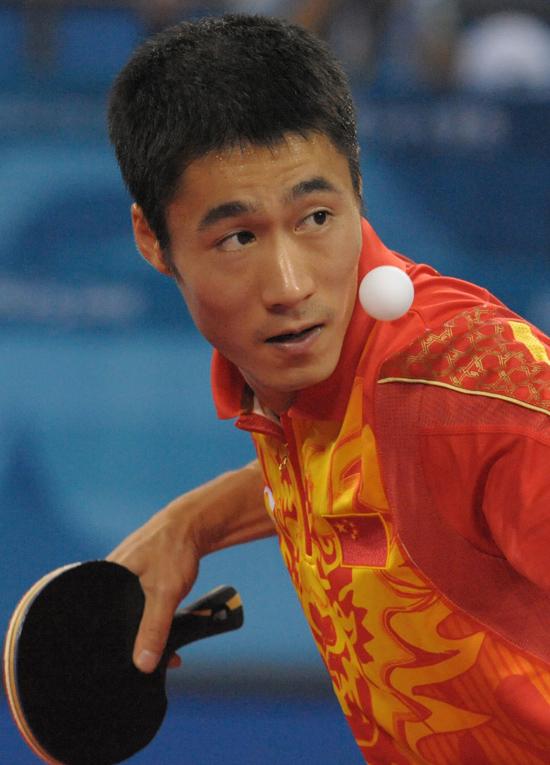 图文-[奥运]乒球男单1/4决赛 王励勤4-0完胜谭瑞午