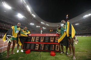 男子4x100接力博尔特领牙买加队破世界纪录夺冠