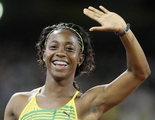 图文-女子100米牙买加选手夺金 如此开心的笑脸