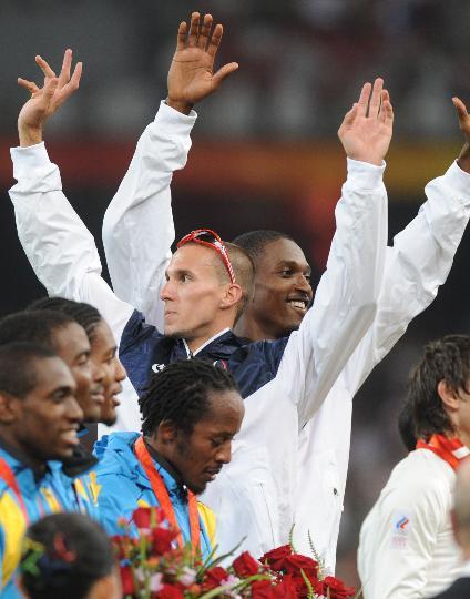 图文-男子4X400米颁奖仪式举行 美国队庆祝