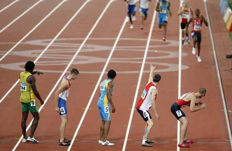图文-奥运男子4X400米美国夺金 哥们快点过来