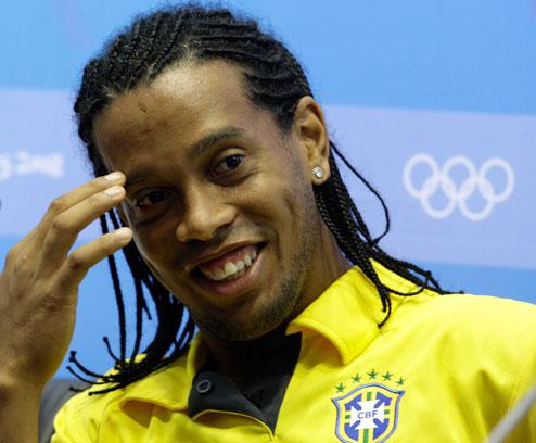 图文-巴西国奥队新闻发布会 小罗享受奥运时光