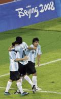 图文-男足半决赛巴西0-3阿根廷 阿根廷人庆祝