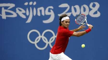 图文-网球男子单打首轮激战 费德勒回球很轻松