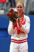 图文-奥运网球女子单打决赛 德门蒂耶娃很开心