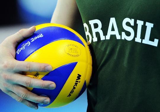 图文-巴西男排亮相首都体育馆 巴西队紧张备战