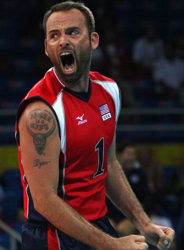 图文-男排1/4决赛赛况 激动的美国队队员