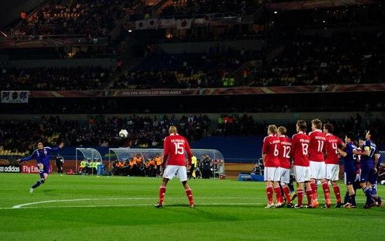 图文-[小组赛]丹麦VS日本日本队罚任意球