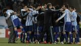 阿根廷队庆祝胜利
