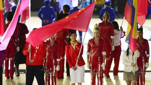 中国代表团旗手徐莉佳进场