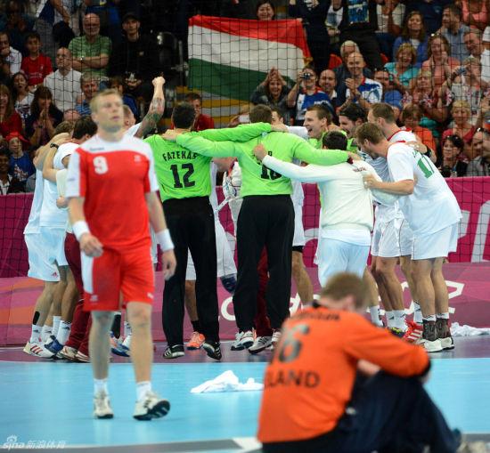 男子1/4决赛匈牙利队庆祝胜利