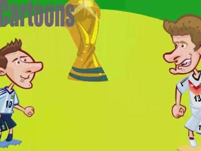 世界杯经典瞬间卡通版 飞翔的范佩西+巴西惨败
