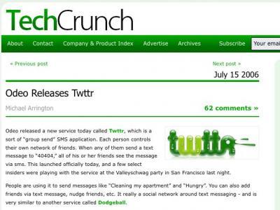TechCrunch的Twttr报道