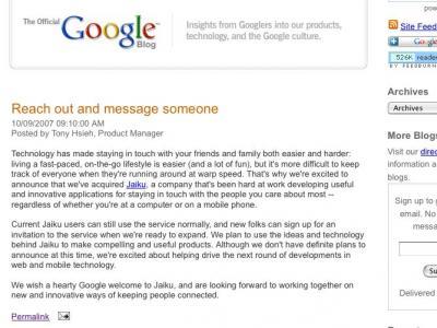 谷歌收购Jaiku的官方博客