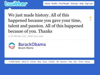 奥巴马感谢关注者的Twitter消息
