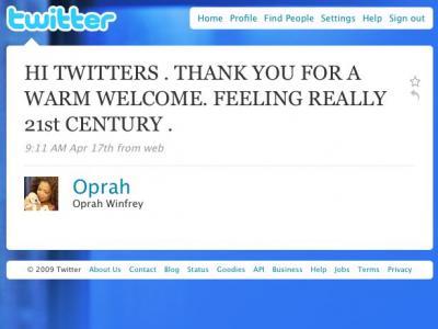 奥普拉·温弗瑞发布的Twitter信息