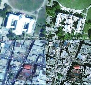 谷歌公布的海地地震前后图片(左为地震前,右为地震后)