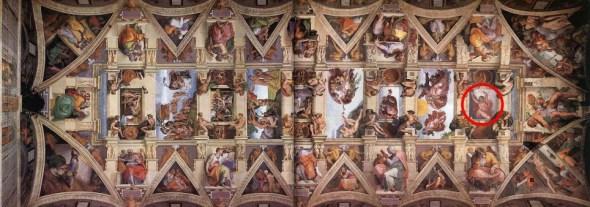 米开朗基罗于1508年至1512年创作西斯廷教堂壁画。专家们认为他们在最西面的场景中发现一条隐藏的信息