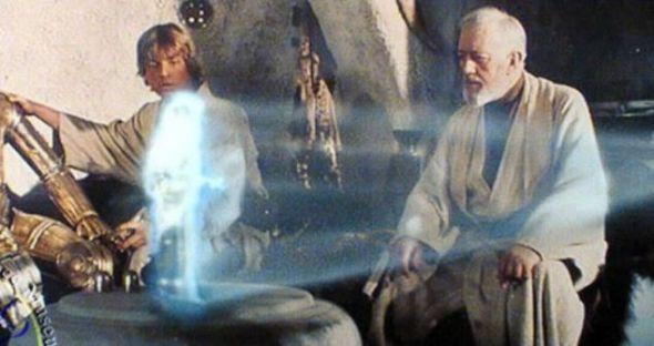 这是第一部《星球大战》影片里的场景,莱娅公主发出的信息,被以全息图的形式发送给卢克-天行者和欧比旺-肯诺比。