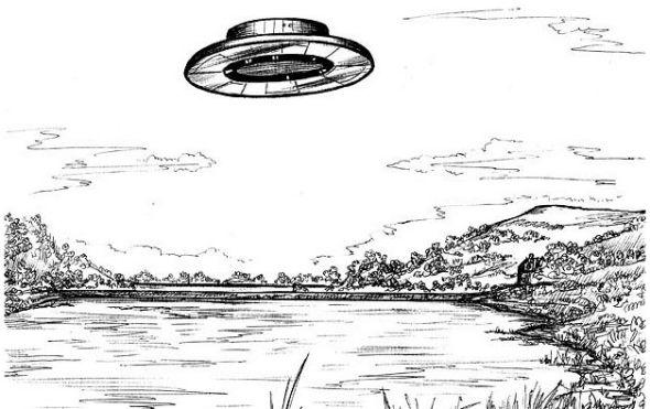 UFO草图,曾在苏格兰上空出现。