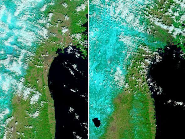 美国卫星拍摄仙台附近海啸前后对比图