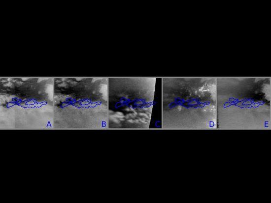 这是一系列图像的合成,显示了土卫六表面颜色出现的改变,随着北半球春季的到来,这颗星球的近赤道地区开始出现甲烷降雨