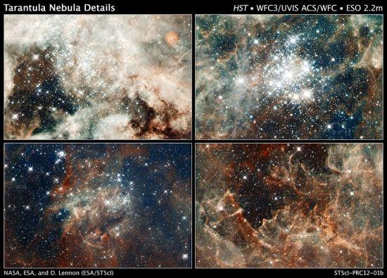 在数百万年里,剑鱼座30以非常快的速度大量生产着恒星。哈勃展示了不同年龄的星团,从200万到2500万年不等。