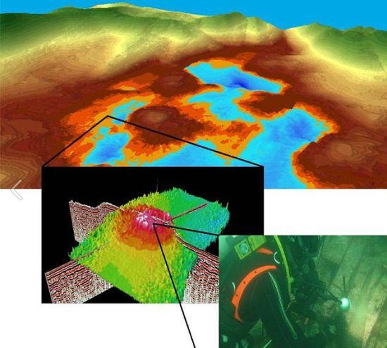在多格兰发现的一个土石堆,位于奥克尼郡附近。潜水员对这里进行了勘察
