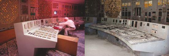 巨变:事故发生后,曾经一尘不染的切尔诺贝利核电站四号机组控制室已经掩埋在了放射性尘土中25年。