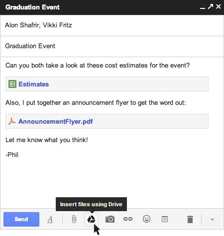 Gmail现在可以直接插入Google Drive的附件了