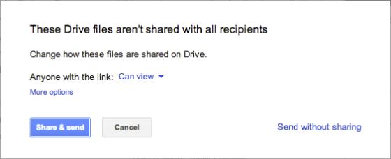 更改文件访问权限时,不必离开Gmail界面